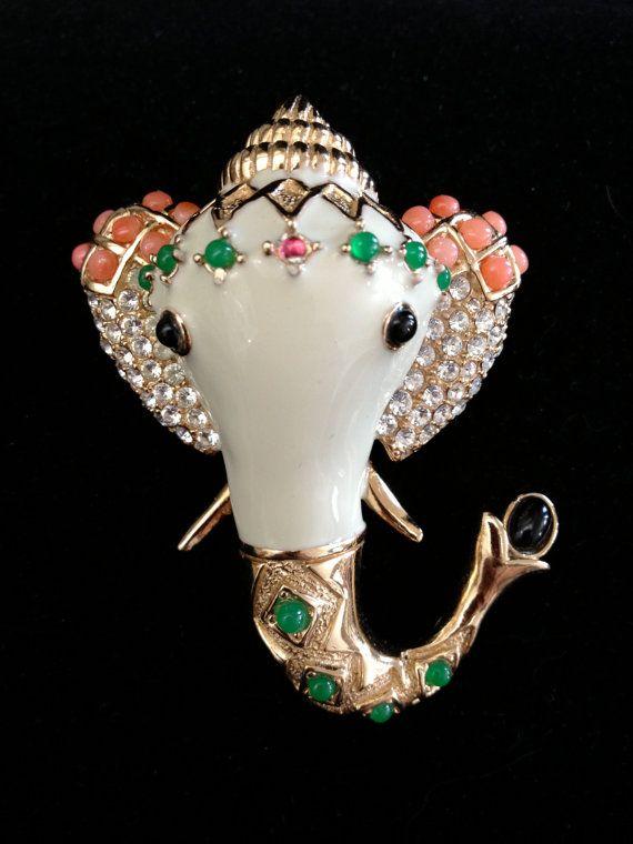 Very Rare Vintage Elephant Brooch by Ciner by Vintageimagine, $295.00