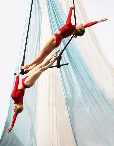 Shana Lord and Christine Van Loo -- duo trapeze