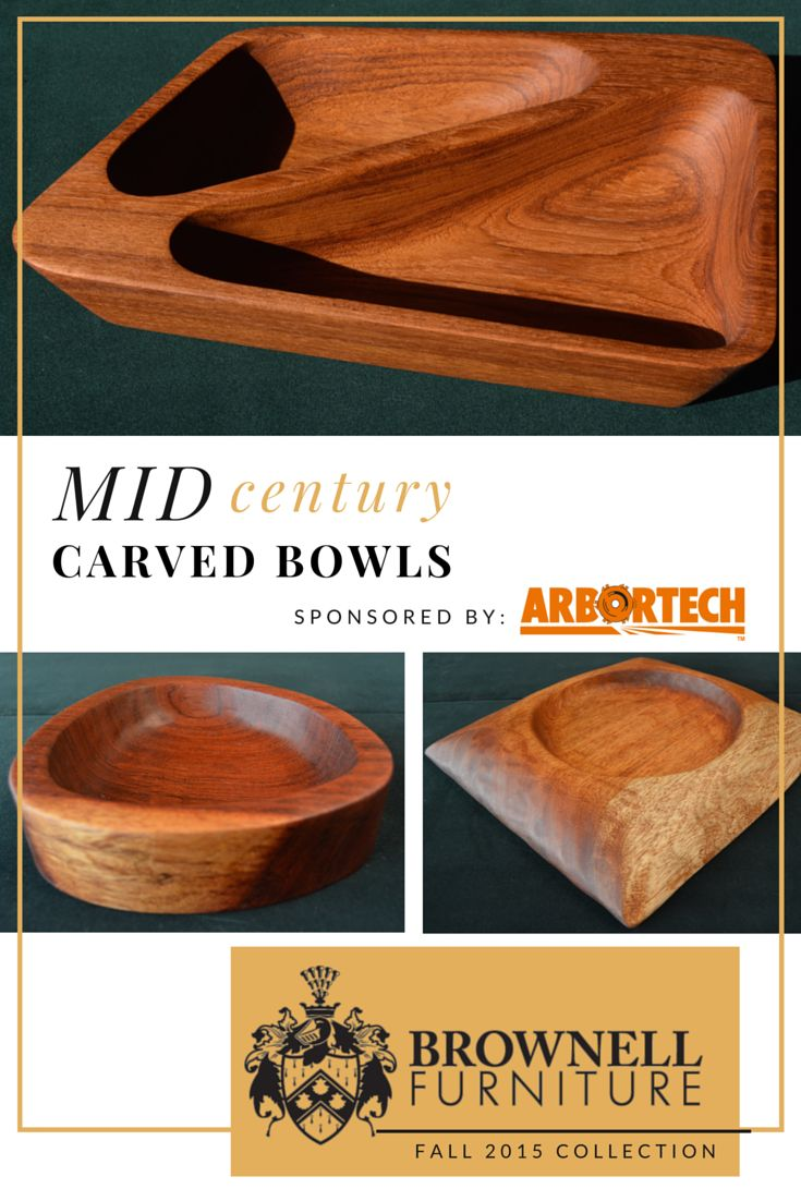 Midcentury modern carved wood bowls using Arbortech power carving tools. Burmese Teak, Bubinga and Niangon. To learn how to make one, visit BrownellFurniture.com