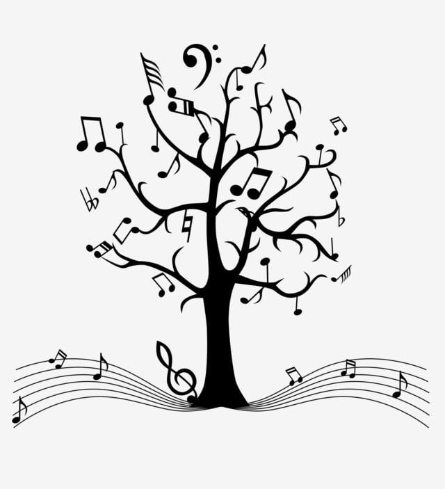 Cute Black And White Tabs Jump Musical Notes Treble Clef Decoration Beautiful Music Diatom Mud Pattern Music Notes Wall Art Black And White Cartoon Music Tree