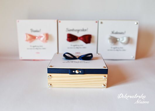 Ślub - zaproszenia, kartki-Drewniany kuferek z prośbą dla świadków