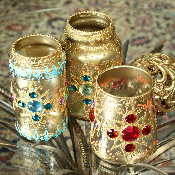 Recycled jars and jewels make beautiful bejeweled boho lanterns.