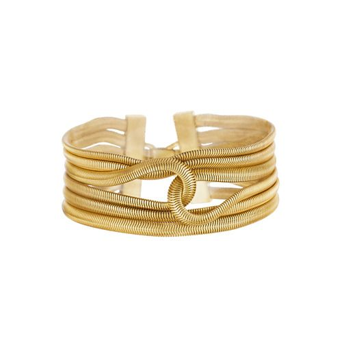 Multi-Row Snake Chain Bracelet Sleek snake chain and a modern design make this intertwined flex bracelet with a fold-over closure both interesting and versatile.