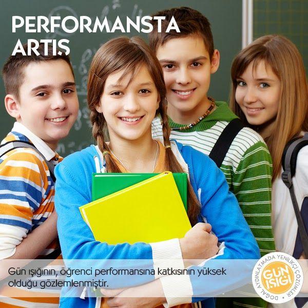 Öğrenci Performansında Artış -  Günışığının öğrenci performansında ise yüksek miktarda artış sağladığı gözlemlenmiştir. USA'da 3 eyalette 21.000 öğrenci üzerinde yapılan teste göre, öğrencilerin %20sinin Matematik testlerinde, %26sının ise Okuma testlerinde başarısının yükseldiği tespit edilmiştir.