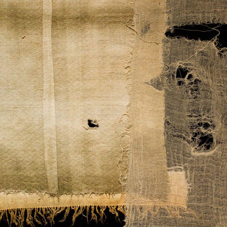 _ Tela di cotone, garza, saia in cotone antico tinta in degradè, cotone lavorato a telaio