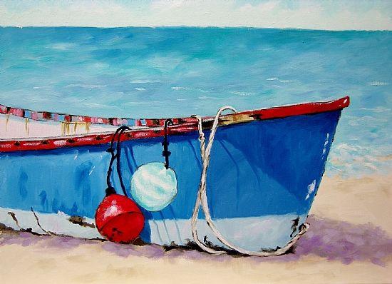 Buoys and Boat - Coastal Artwork: Beach Decor, Coastal Home Decor, Nautical Decor, Tropical Island Decor & Beach Cottage Furnishings