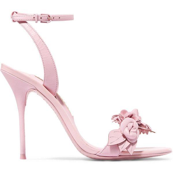 Sophia Webster Lilico appliquéd leather sandals ($490) ❤ liked on Polyvore featuring shoes, sandals, strap sandals, leather high heel sandals, floral print shoes, strappy leather sandals and leather sandals