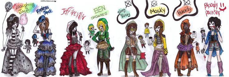 all creepypasta outfits by NENEBUBBLEELOVER.deviantart.com on @DeviantArt