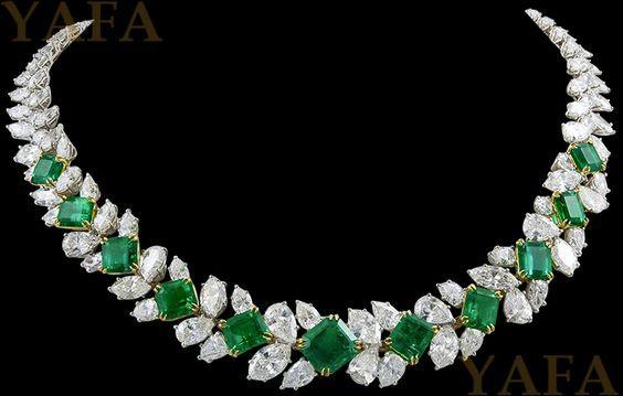 HARRY WINSTON Diamond and Emerald Necklace