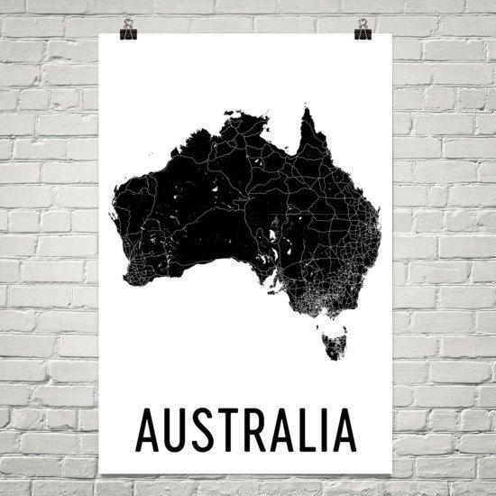 Australia Map, Map of Australia, Australia Print, Australia Art, Australia Wall Art, Australia Gifts, Australia Decor, Australia Map Print