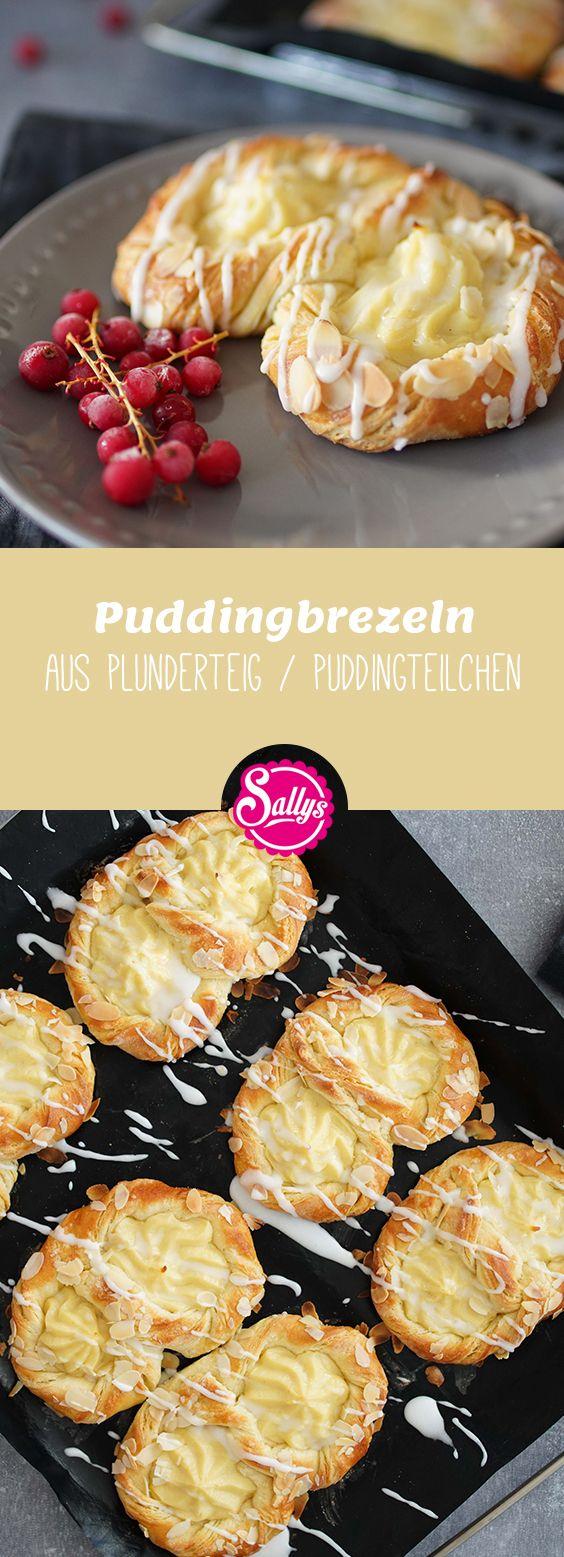 Soooo unglaublich lecker sind die Puddingbrezeln, die aus einem Plunderteig bestehen. Plunderteig ist das Zusammenspiel aus Hefe- und Blätterteig. Die Brezel backt in einzelnen Schichten auf und ist wunderbar locker. Dazu passt der cremige Pudding, welcher mitgebacken wird, prima.