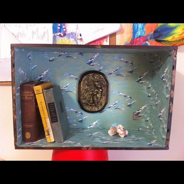 Wine crate shadow box shelf.  Made by Makena Levine