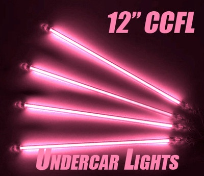 Pink Car Auto Undercar Underbody 4 Piece Neon Kit Lights Under Car Light 12"