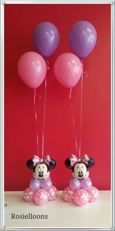 Minnie Mouse Balloon Centerpieces. Ideal for a girl's birthday party.