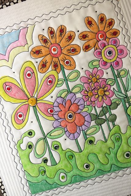 """A close-up of """"Bloomin"""" by mamacjt, via Flickr Crayons on fabric"""