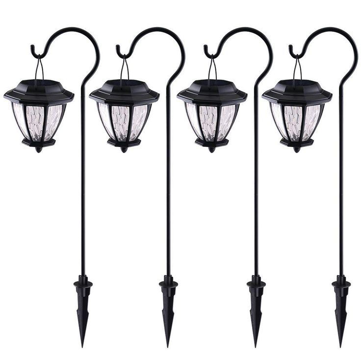 hampton bay matte black solar path light 4pack - Path Lights