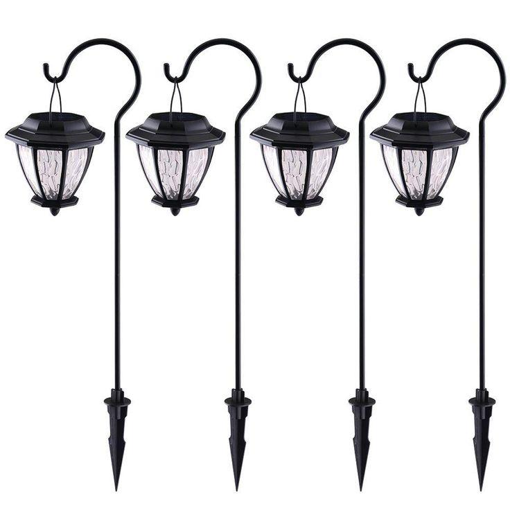 Hampton Bay Matte Black Solar Path Light (4-Pack)-93603 - for in the garden