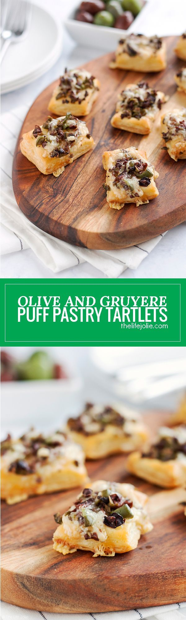 This Olive and Gruyere Puff Pastry Tartlets recipe is one of my new favorite easy appetizers to throw together! Just four simple ingredients (including frozen puff pastry dough, olives and cheese) and they come together quickly for the holidays or any par