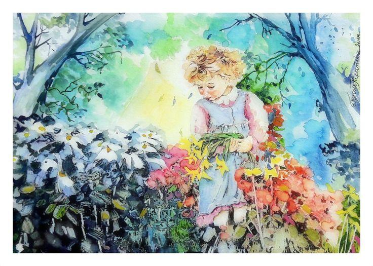 Dziewczynka w ogrodzie. (2018 r.) Akwarela - Białe noce
