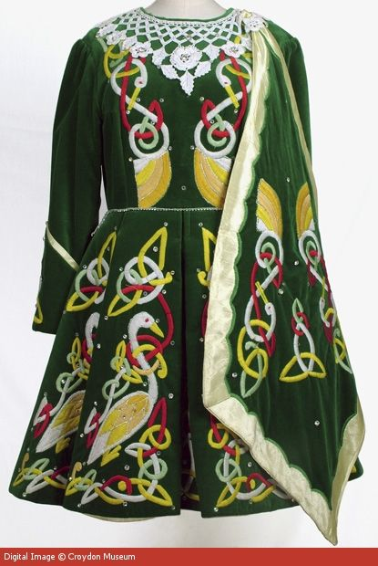 1990s Irish Dancing Solo Dress. It is machine embroidered with designs taken from the Book of Kells.