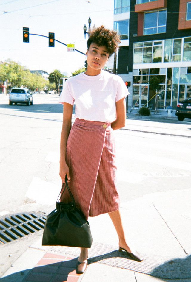 Corduroy wrap skirt + blush pink tee