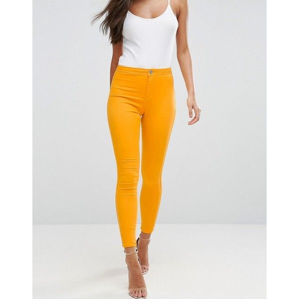ASOS RIVINGTON High Waist Denim Jeggings in Marigold Yellow ($39) ❤ liked on Polyvore featuring pants, leggings, orange, orange leggings, skinny jean leggings, denim jeggings, jean leggings and jeggings leggings