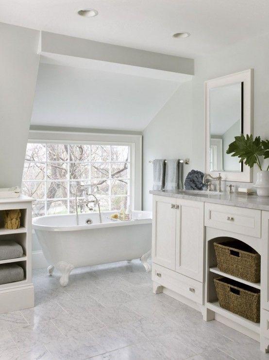 : Bathroom Design, Window, Bathtubs, Clawfoot Tubs, Dreams Bathroom, Vanities, Bathroom Ideas, White Bathroom, Master Bath