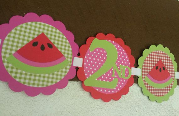 Watermelon Birthday Party Banner by Kirascollection on Etsy