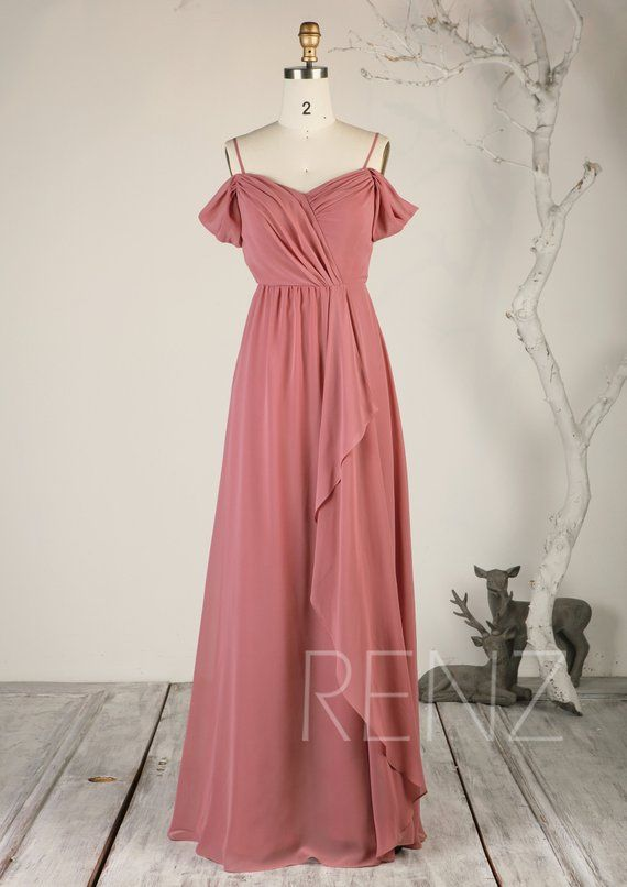 5f9ba77ee8c Bridesmaid Dress Dusty Rose Cold Shoulder Wedding Dress Beach ...