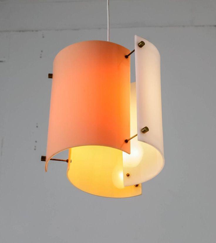 Yki Nummi Mulit-Color Plexiglass Pendant for Orno, Finland, 1960s 9