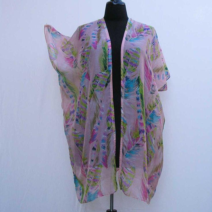 Pink Kimono, plus size kimono, boho kimono, pink feather kimono, 1x 2x 3x 4x 5x 6x kimono, plus size dressing gown, plus size robe cover up by Rethreading on Etsy