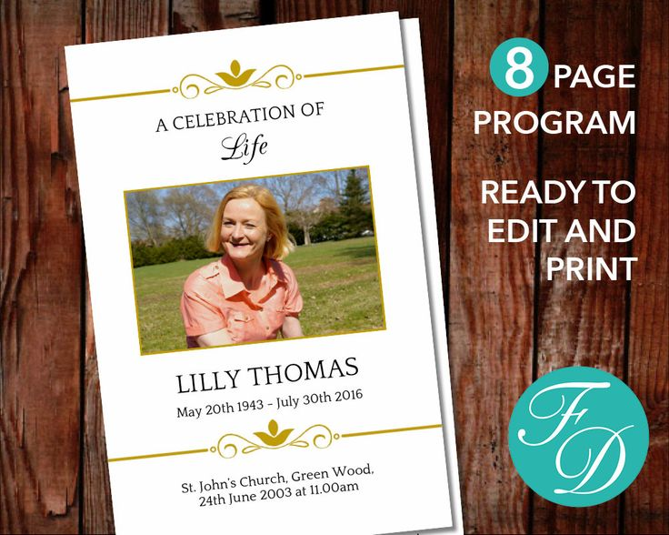 147 best 8 Page Funeral Program Templates images on Pinterest - funeral program template microsoft