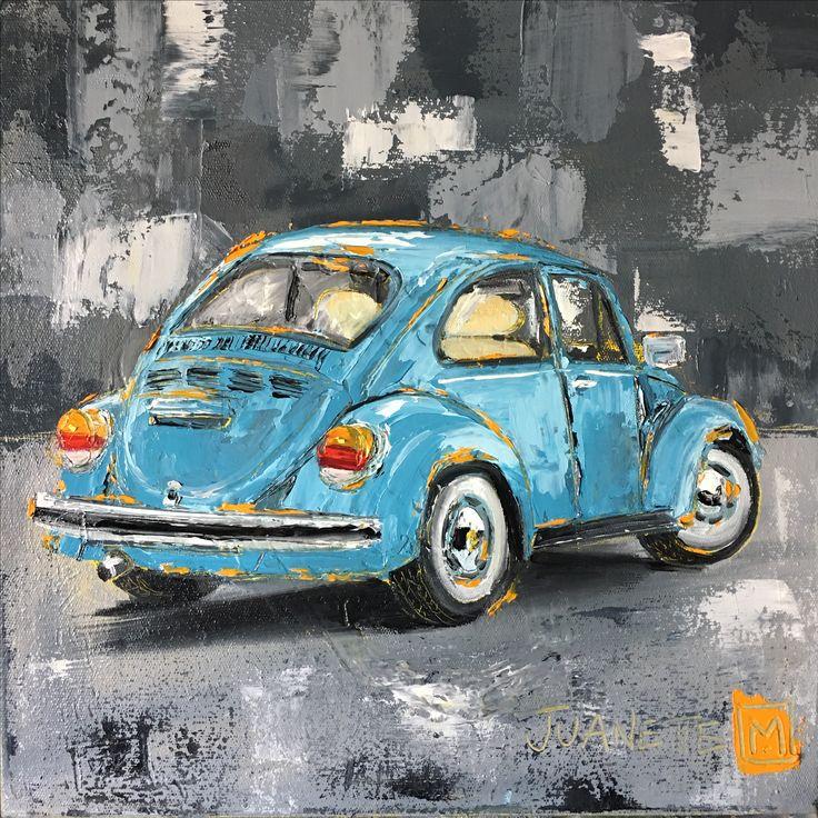 Blue beetle  Oil impasto on board  By Juanette Menderoi