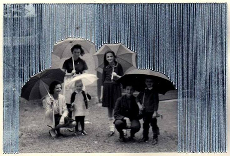 Flore Gardner Rain. Embroidered photograph