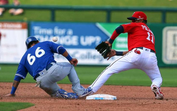 2018 MLB spring training - TAKING THE HIT:   Blue Jays second baseman Tim Lopes (66) beats the throw to Twins shortstop Jorge Polanco as he retreats back to the base on March 2 in Florida. Minnesota won 2-1.