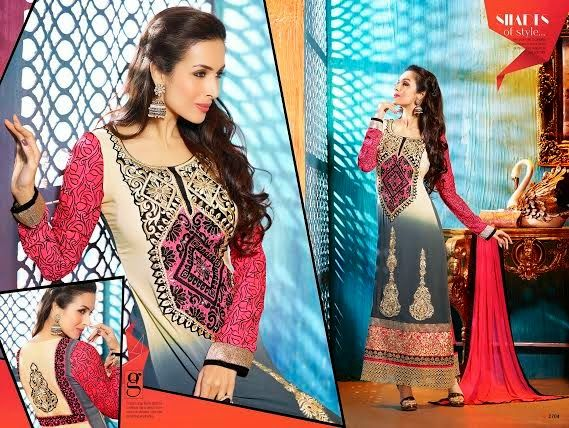 Ethnically designed Party wear Straight cut Shaded Beige and Grey with Pink Georgette Salwar suit with Beautiful thread and Stone work and Karachi Laces on the hemline and Sleeves. Matching Santoon Bottom and Chiffon Duppatta included.