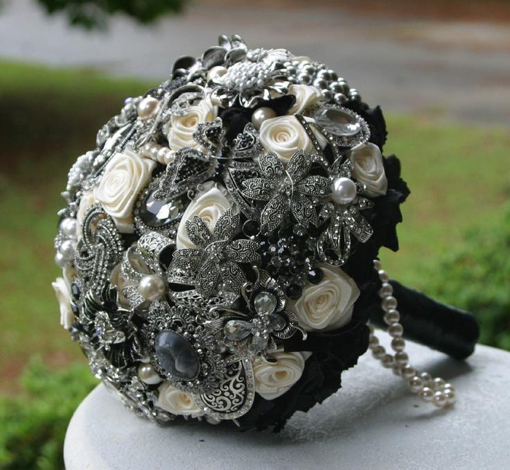 Black brooch wedding bouquet. Deposit on a custom bouquet. Please read description. $75.00, via Etsy.