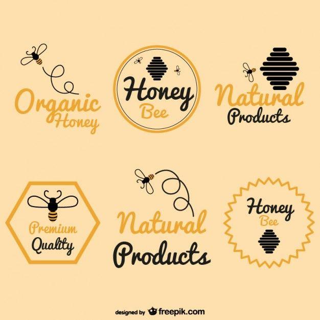 Pack de logos de miel de abeja.