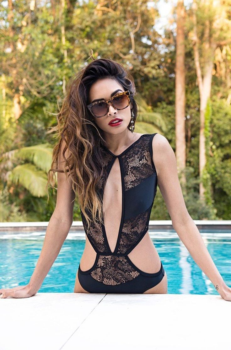 Designer Style // This beguiling Iliana one piece has all the makings of a designer swimwear. It has lace inserts with a high neckline and cutouts on the chest area and waistline. Own one here.