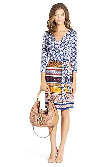 New Julian Two Silk Jersey Wrap Dress In Ikat Batik Small Blue/ Desert Band