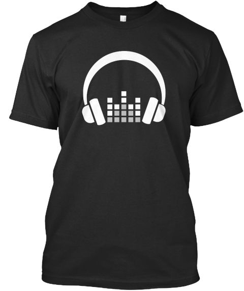 Headphone T Shirt Music Shirts Black T-Shirt Front