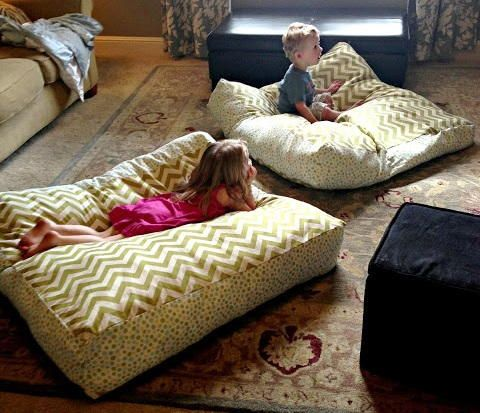 Bean bag chairs can be surprisingly expensive, so why not try sewing these Giant DIY Floor Pillows instead? They're even more comfortable than store-bought bean bags and much more stylish.