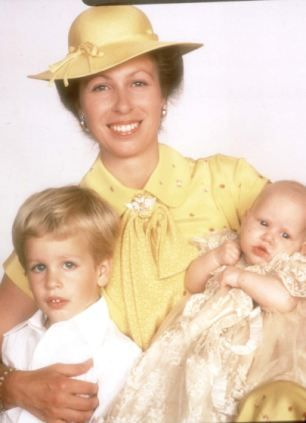 Princess Anne with son Peter and daughter Zara at Zara's christening, which took place just a few days before Charles and Diana's wedding.