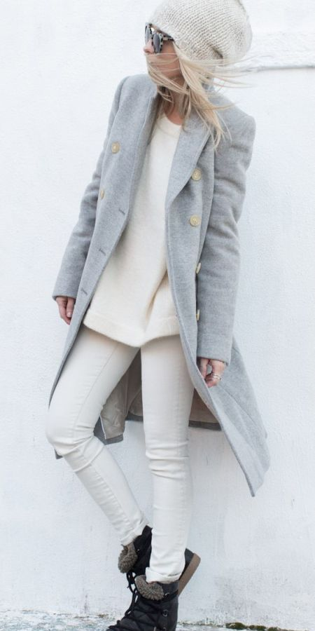 Gray's and cream's combine in a way that leave me wanting to scour my wardrobe for the exact colors and textures.