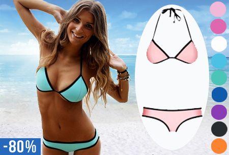 De Neopreen Triangel bikini is dé hit van 2015, en voor deze prijs kun je hem al helemaal niet laten liggen. #bikini #neopreen #triangel #vakantie #beach
