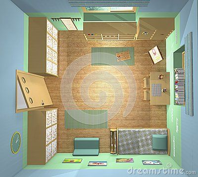 3D top view. Toddlers' room