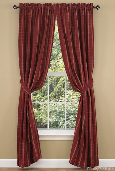 Adamstown Wine Lined Tieback Curtain Panels Country
