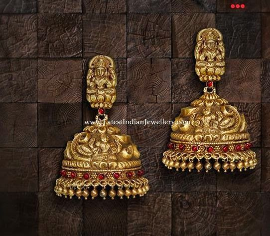 Impeccable Antique Gold Jhumkas or jhumkis. Indian jewellery fashion.