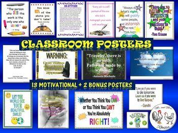 Classroom Motivational Posters plus 2 bonus posters! Ready to print!