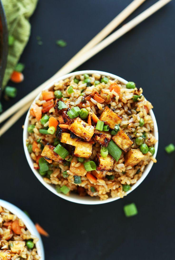 AMAZING HEALTHY Vegan Fried Rice with Crispy Tofu #vegan #glutenfree #recipe #chinese #friedrice #minimalistbaker